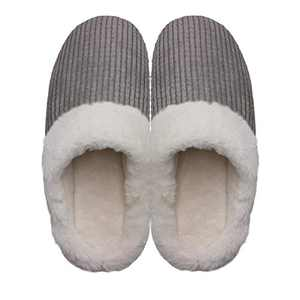 Men's Cozy Slip On Memory Foam Slippers Fuzzy Plush Lining House Shoes Gray Men US 13-14
