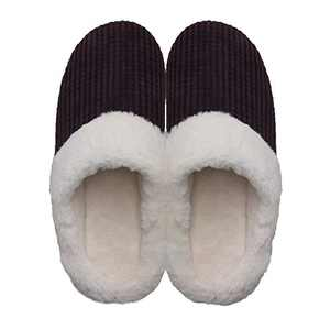 Men's Cozy Slip On Memory Foam Slippers Fuzzy Plush Lining House ShoesCoffee Men US 13-14