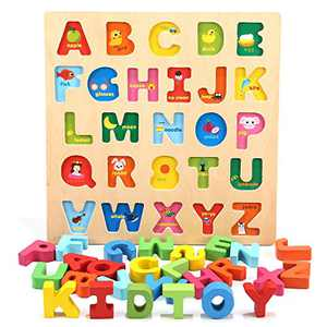Jamohom Wooden Alphabet Puzzles for Toddlers, Chunky ABC Puzzles Board for 2-5 Years Old, Educational Learning Letters for Boys and Girls, Preschool Puzzle Gifts for Kid
