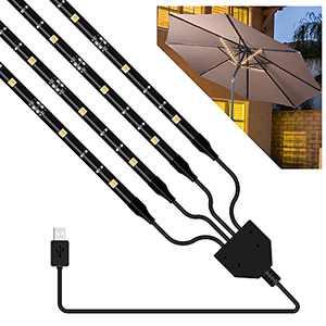 DANCRA Patio Umbrella Lights, 4×1.3ft Led Light Strip with 5V USB Powered, Warm White Waterproof Outdoor LED Light for Umbrella Patio Backyard Garden Camping Tent