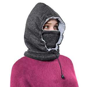 Ski Face Mask Women Men Balaclava Fleece Hood Winter Face Mask Head Warme(Black-White)