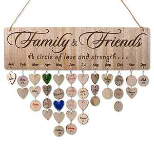 Gifts for Mom - Funny Birthday Presents Help Mama Remember Family Birthday Anniversary, Wood Calendar Board, Family & Friends Pattern, 100 Tags