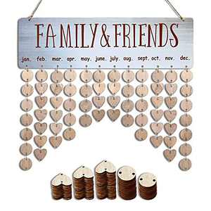 Gifts For Dad From Daughter, Son, Kids - Wooden Family Birthday Anniversary Reminder Calendar Tracker Board w/100 Tags - Birthday Fathers Day Best Gift Present Idea for Dad Father Husband Him