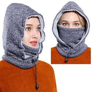 Ski Face Mask Women Men Balaclava Fleece Hood Winter Face Mask Head Warme(navyblue-White)