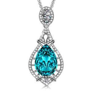 SIVERY Jewelry for Women 'Tears of Angel' Woman Necklace Pendant with Blue Teardrop Crystals from Swarovski, Necklaces for Women, Gifts for Mom