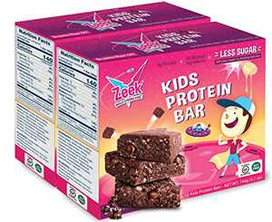 ZEEK BAR - Kids Protein Snack Bars - Less Sugar, High Protein Kids Snack Bars - Healthy, Gluten Free Protein Snack Bar for Kids and Teens - Brownie Blast Off, 20 Count
