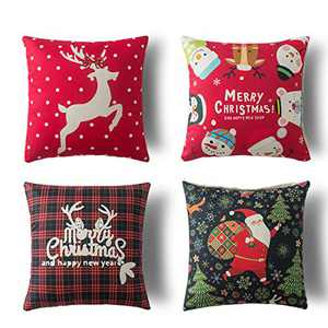 "Xinrjojo Christmas, Snowball, Christmas Deer, Santa Claus, Christmas Tree Cotton Linen Throw Pillow Case Cushion Cover 18"" x 18"" 45cm x 45cm Set of 4"