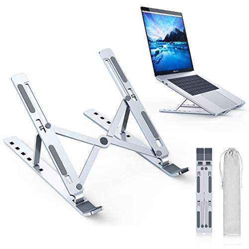 Humixx Laptop Stand, Aluminum Foldable Holder with 5 Adjustable Degrees, Ergonomic Design with Heat-Vent, Slide-Proof Silicone and Protective Hooks Compatible with MacBook/Air/Pro 10 to 16 Inches