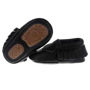 "Pidoli Baby Leather Shoes Unisex Girls Boys Moccasins Rubber Sole (4 US7M 12-18Month 5.51"" Toddler, Black)"