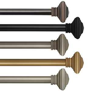 """Elrene Florence 1"""" Window Drapery Single Curtain Rod with Stacked Square Finial, 86""""-120"""" Adjustable, Antique Pewter"""