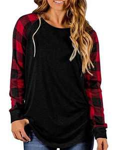 Aifer Womens Buffalo Plaid Shirts Round Neck Pattern Raglan Pullover Casual Long Sleeve Tops