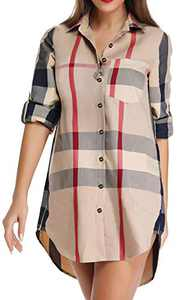 Acloth Button Up Boyfriend Shirt Women's Plaid Button Down Blouse Roll-up Sleeve Boyfriend Shirt Loose Tops with Pocket Long Plaid Shirts for Leggings Boutique Clothing 3/4 Sleeve Blouses Beige XL
