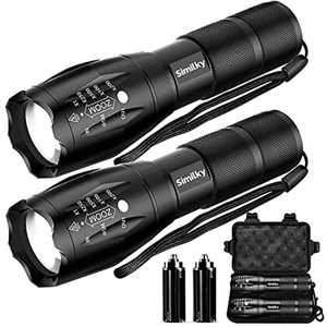 SIMILKY Torch LED Flashlight Adjustable Focus Handheld Flashlight Super Bright 1200 Lumens Pocket Torch Zoomable, Waterproof Camping Outdoor (2 Pack)