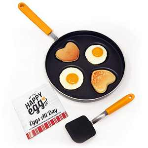 "Happy Egg Pan by Choosy Chef - Nonstick 4-Cup Frying Pan, Spatula & Happy Egg Recipe Book Included (10"" Pan with 3"" Circle Cups)"