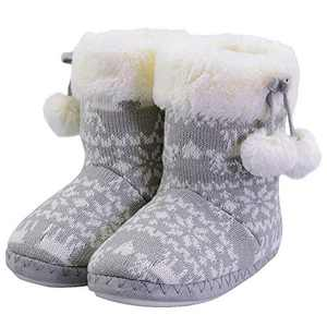 Girls Slippers Boot Bedroom Bootie Shoes for Winter Warm Anti-Slip Plush Slippers for Little Kid Grey