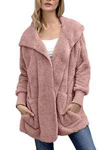 Mingnos Women Fuzzy Fleece Open Front Hooded Jacket Coat with Pockets (Pink, M)