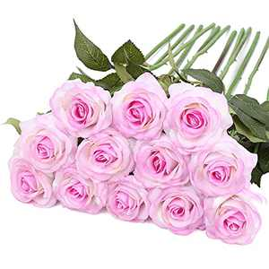 Purple Fake Roses Artificial Flowers, IPOPU 12Pcs Real Touch Roses Silk Flowers Floral Arrangements for Home Wedding Party Garden Bridal Hydrangea Decorations DIY (Light Purple)