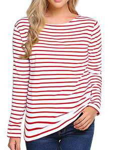 Women's Long Sleeve Striped T-Shirt Tee Shirt Tops Slim Fit Blouses (Small, Red White)