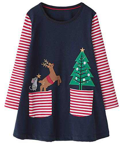 Fiream Toddler Girls Casual Dress Cotton Long Sleeve Shirt for Kid(SY018,6-7Y)