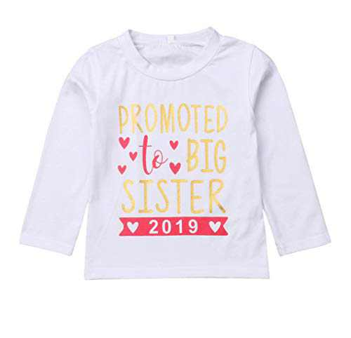 Gaono 2018 Baby Girl Clothes Outfit Big Sister Letter Print T-Shirt Top Blouse Shirts (2019 White Long, 4-5 Years)