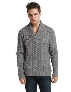Lynz Pure Men's Sweater Shawl Collar Cable Knit Pullover Knitwear S Grey