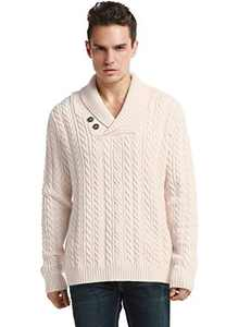 Lynz Pure Men's Sweater Shawl Collar Cable Knit Pullover Knitwear M Beige