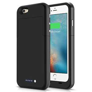 LCLEBM Battery Case for iPhone 6, 3800mAh Portable Protective Charging Case Rechargeable Extended Battery Pack Charger Case for iPhone 6- Black