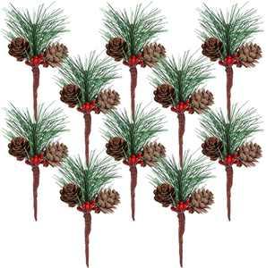 VOSAREA 10pcs Artificial Pine Picks with Berries Pinecones Christmas Trees Decoration Stems Flower Arrangements Wreaths