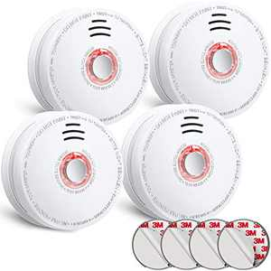 SITERLINK Smoke Detector Fire Alarm 4 Pack, UL Listed Not Sealed Battery Operated, Low Battery Warning, Fire Detector Photoelectric for Home Bedroom and Babyroom, GS528A