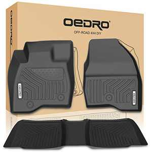 OEDRO Floor Mats Compatible for 2017-2019 Ford Explorer, Unique Black TPE All-Weather Guard Includes 1st and 2nd Rows: Front, Rear, Full Set Liners