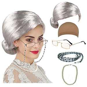 Old Lady Cosplay Set - Grandmother Wig, Wig Cap,Madea Granny Glasses, Eyeglass Chains Cords Strap, Pearl Beads (Style-5)