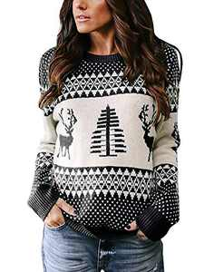 Umeko Womens Ugly Christmas Sweater Cute Reindeer Tree Knit Casual Loose Pullover Jumper