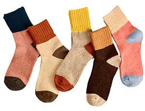 Woogwin 5 Pairs Womens Casual Crew Athletic Socks Comfort High Ankle Cotton Socks (yellow, One Size)