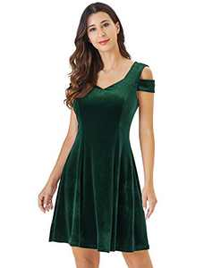 InsNova Women's Green Fit and Fare Semi Formal Velvet Short Dress (X-Large, Velvet-Green)