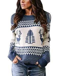 Beautife Womens Ugly Christmas Sweater Casual Oversized Crewneck Front Reindeer Tree Pullover