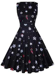 OWIN Women's Vintage Christmas Dress Floral Cocktail Dress Rockabilly Swing Party
