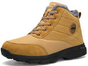 BomKinta Women's Snow Boots Keep Warm Surface Anti-Slip Soft Sole Warm Fur Lined Winter Ankle Booties Camel Size 11