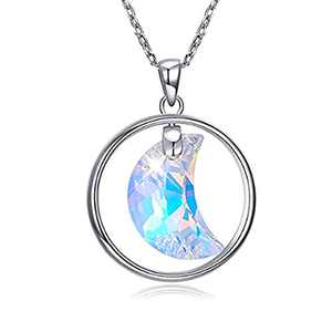 GBYAN Moon Necklace Christmas Gift 925 Sterling Sliver Starry Jewelry Lekani Crystals from Swarovski Pendant Chain with Box for Women