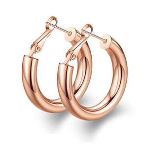 wowshow Chunky Thick Good Hoops Earrings for Women Rose Gold Hoops