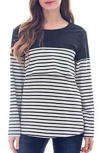 Smallshow Women's Maternity Nursing Tops Long Sleeve Striped Breastfeeding T-Shirt Small Black