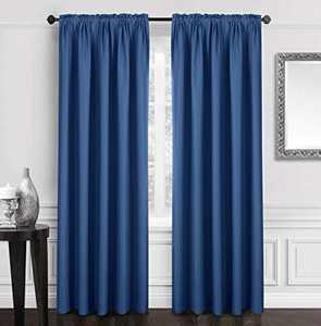 "Dreaming Casa Solid Blackout Curtain for Bedroom 63 Inches Long Draperies Window Treatment 2 Panels Navy Blue Rod Pocket 2 Panels 52"" W x 63"" L"
