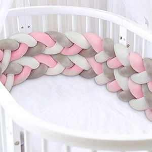 Luchild Braided Crib Bumper, 118 inch/3m Baby Cot Bumper, Crib Bumper Wrap Around Protection 100% Cotton Bed Sleep Bumper for Newborns Baby Kids