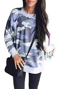 BTFBM Womens Sweatshirts Camo Leopard Print Crew Neck Long Sleeve Camouflage Casual Fit Sweatshirt Pullover Tops Shirts (Blue, Medium)