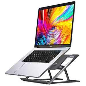 SAVFY Laptop Stand, Foldable Portable Laptop Stand for Desk, Ergonomic Multi-Angle Adjustable Aluminum Light Weight Laptop Holder for 10''-17'' MacBook, iPad, Notebook