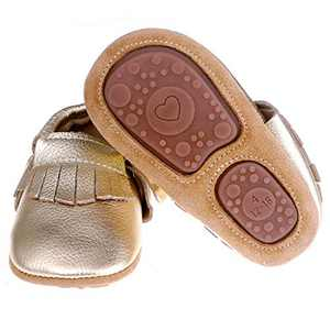 """Pidoli Baby Leather Shoes Unisex Girls Boys Moccasins Rubber Sole (5 US 8.5M 19-24Month 5.90"""", Gold)"""