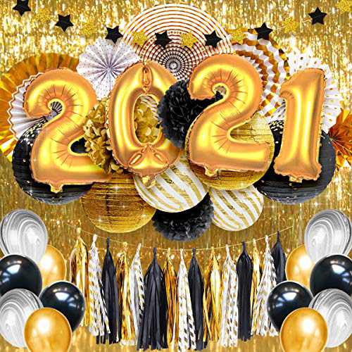 NICROLANDEE Graduation Party Supplies - 32 Inch 2021 Gold Balloons Metallic Backdrop Paper Lanterns Tissue Pompoms Paper Fans for Class of 2021 Graduation Decoration, Birthday, Anniversary(49PCS)