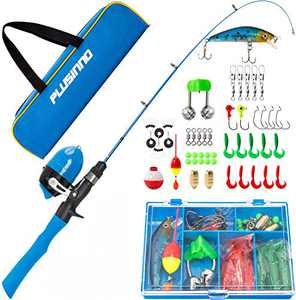 PLUSINNO Kids Fishing Pole with Travel Bag, Telescopic Fishing Rod and Reel Combos with Spincast Fishing Reel Full Kits for Kids,Boys,Youth Fishing (Blue Handle with Spincast Reel, 150CM 59IN)