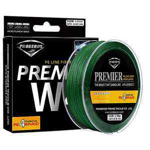 Sunlure Braided Fishing Line - 4 Strands Braid Lines Super Strong High Sensitivity Zero Stretch PE Fish Line 547Yard/500M 40 Lb Green