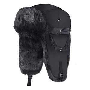 Onway Winter Trapper Hat Unisex Aviator Bomber Hat with Warm Faux Fur and Adjustable Ear Flaps for Men, Black