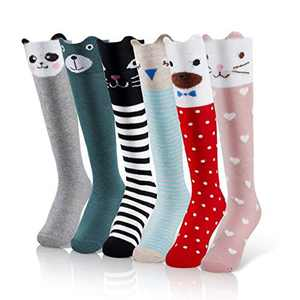 iMucci 6 pairs Girls Cute Knee High Socks Cartoon Animal Cotton christmas stockings, One Size, Multicolored